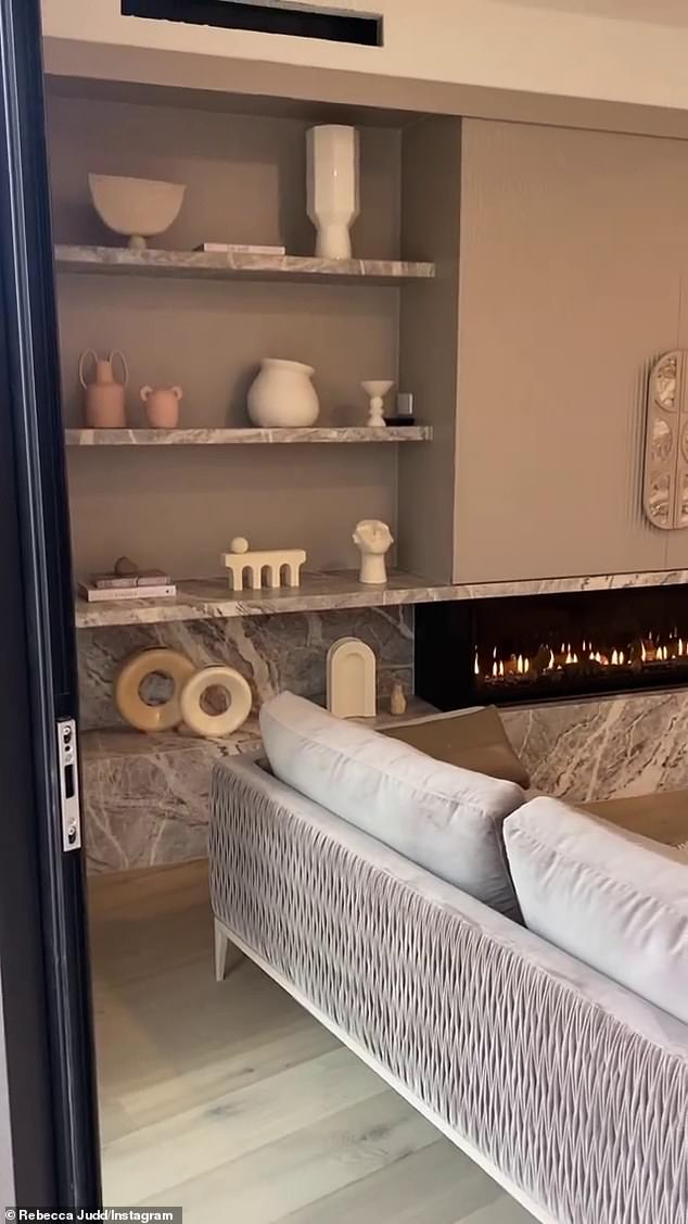 On Friday, the 38-year-old shared a video on Instagram, showing off the main family area of the home after it was completed in just 11 weeks.She entered through the sliding glass doors revealing living and dining space.