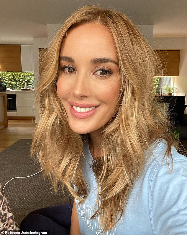 Simply chic! Rebecca Judd has given a glimpse inside the living and dining area of her luxury chalet in Mount Buller, in the popular ski resort village of Mount Buller, in regional Victoria