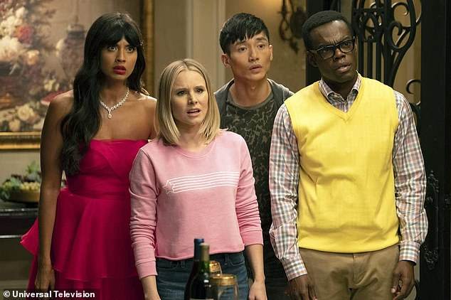 Funny man: Manny is best known for his comedic role in the hit comedy, The Good Place. Pictured left to right isJameela Jamil, Kristen Bell, Manny andWilliam Jackson Harper