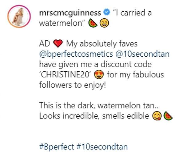 Comedian: The model cracked a joke in her caption