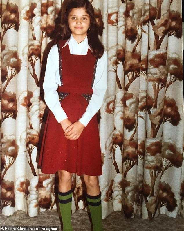 'Fashion was always on point': Helena Christensen shared an adorable string of throwback snaps to her pre-teen years in 1970s Copenhagen to Instagram on Saturday