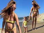 Pregnant Millie Mackintosh glowing as she twins with her daughter Sienna on holiday in Crete