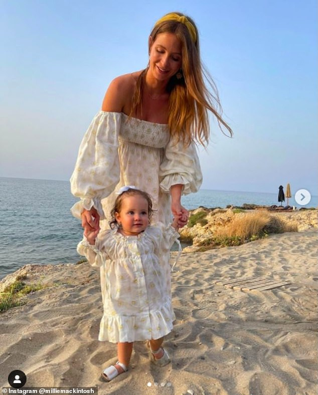 Sweet:The star tied the knot with Hugo Taylor, now 35, in 2018 and she gave birth to Sienna via C-section in 2020
