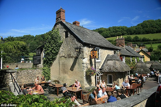 Thethatched-roofed Masons Arms in Knowstone, Devon, has a relaxed atmosphere