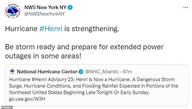 Weather agencies took to Twitter to warn people of flooding and extended power outages