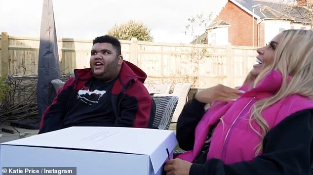 Playful: The 18-year-old - who was born with disabilities - couldn't stop swearing in the new clip which the former glamour model, 43, uploaded to her Instagram