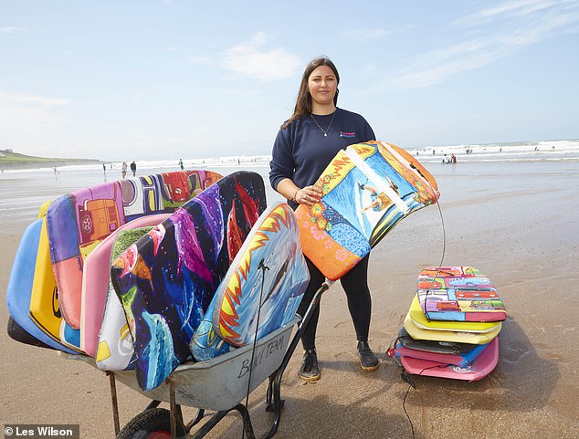 Holly Robertson is the beach manager at Croyde Bay Devon. with cheap plastic bodyboards causing polystyrene