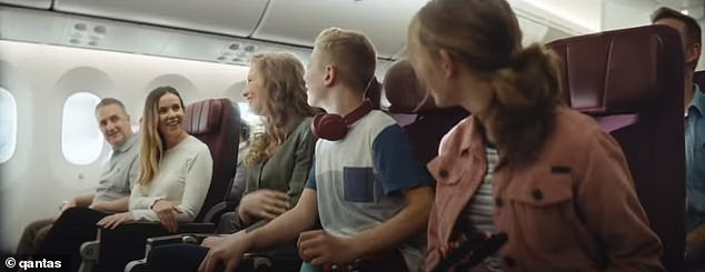Campaign: Qantas released its heartstring-tugging new ad campaign to get Aussies vaccinated against Covid and back flying again. Pictured: a family in the ad on their way to Disneyland