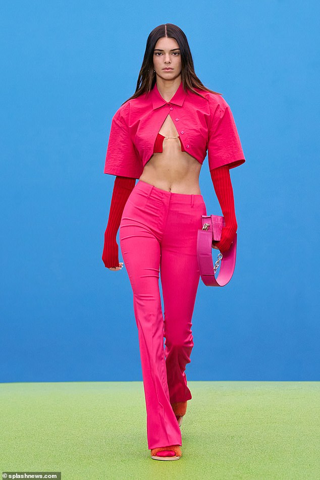 Catwalker: In July, Kendall walked the runway for the label during Paris Fashion Week and was seen carrying the same pink suede bag from her new ad
