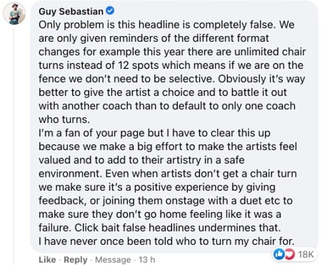 Backpedaling:Days later, Sebastian desperately backtracked on his claims, insisting he has 'never once been told who to turn his chair for'