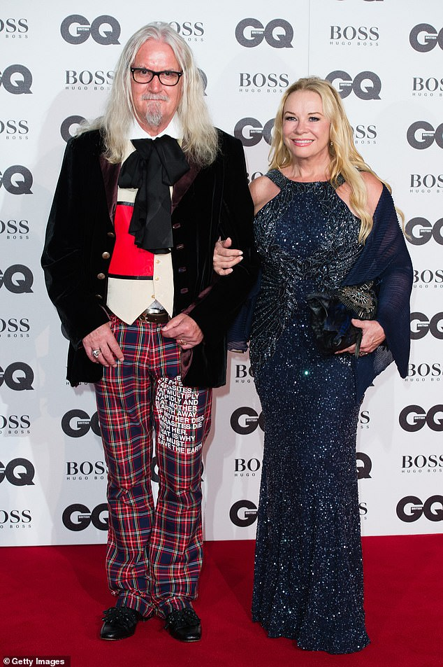 Loved-up: The comedian made the quip in a rare interview with his wife Dr Pamela Stephenson Connolly at their home in Florida (pictured together in 2016)