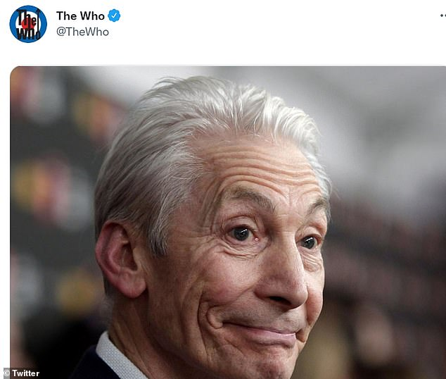 Tribute:In tribute, The Who simply shared a photo of Charlie on Twitter