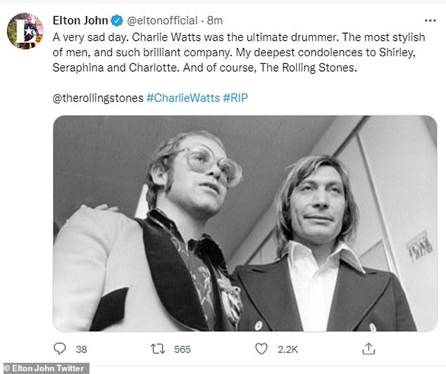 Missed:Elton John, 74, took to social media to pen a message to Charlie, accompanied by a throwback snap of the pair in the 1970s, branding him 'the ultimate drummer