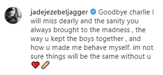 Goodbye Charlie:Mick Jagger's daughter Jade, 49, also opted for a black and white snap of the drummer as she said 'things wouldn't be the same'