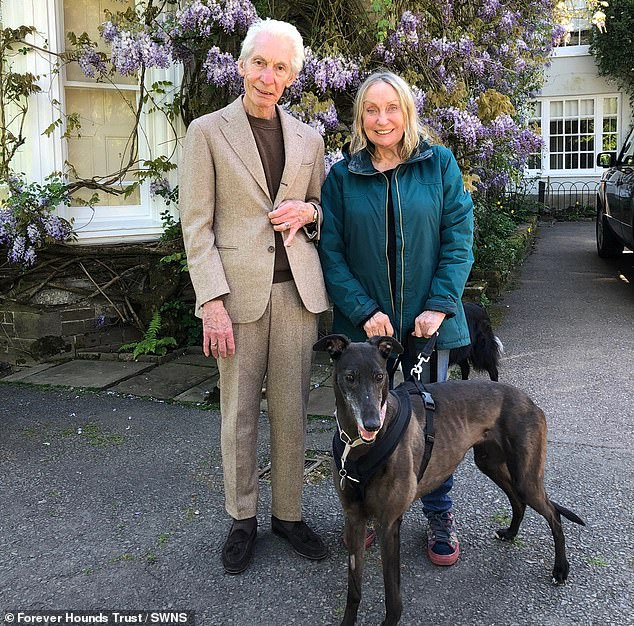 Pictured: Charlie Watts appeared in good spirits alongside his wife Shirley, in the final image of the pair together before his death aged 80