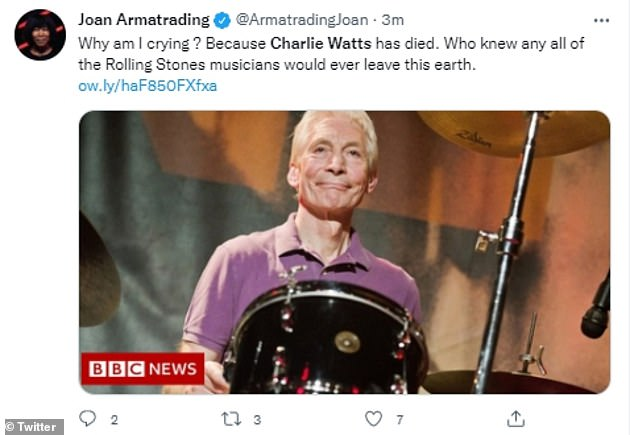 Emotional:Singer Joan Armatrading added: 'Why am I crying ? Because Charlie Watts has died. Who knew that any of the Rolling Stones musicians would ever leave this earth'