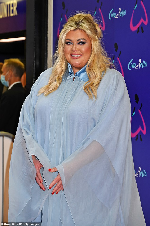 Wow:The TOWIE star, 40, ensured all eyes were on her as she donned a pale blue sheer floor length gown while walking the red carpet