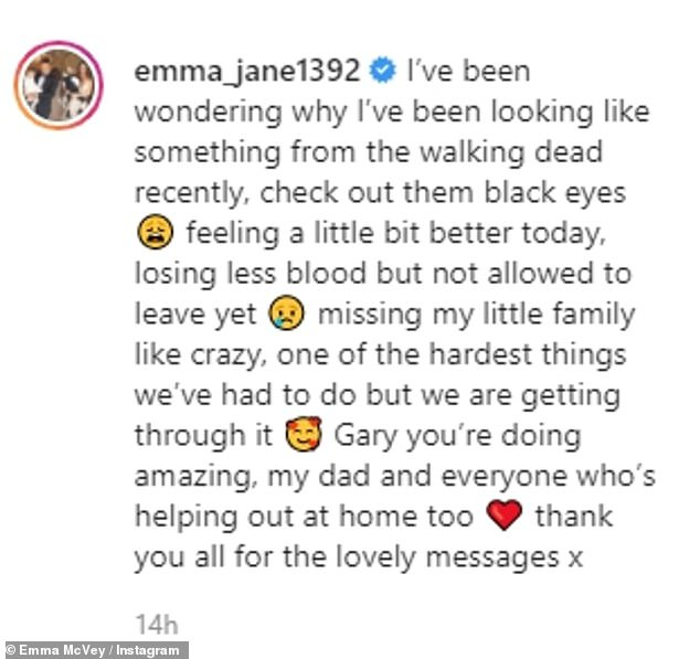 Message:'Missing my little family like crazy, one of the hardest things we've had to do but we are getting through it. Gary you're doing amazing'