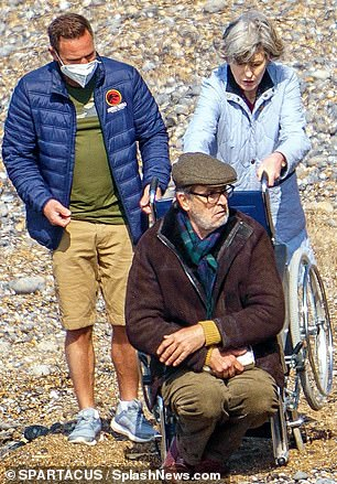 On set: The snaps from filming, taken in East Sussex, hinted at a potentially tense unfolding