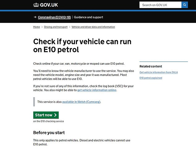 The Government has created an E10 online checker tool for motorists to clarify if their petrol vehicle is eligible to use the greener unleaded. You simply need to follow the prompts to enter details about your car to understand if it is compliant