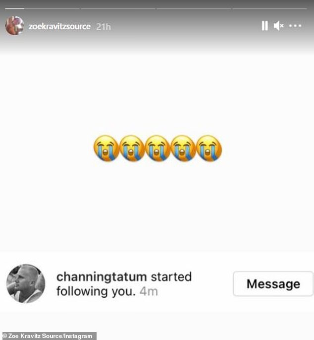 VIP follower:Fan account @ZoeJKravitzSource noticed that the star was following them on Wednesday, posting a screenshot of their new mutual with a slate of crying emojis