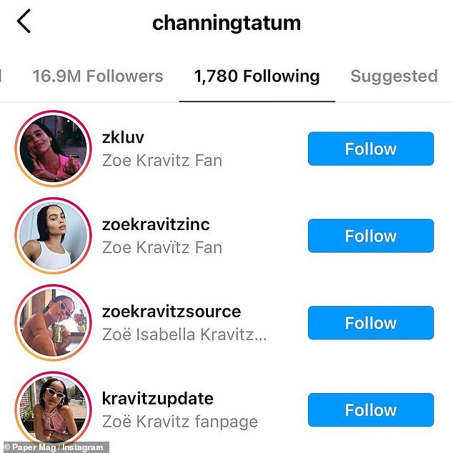 Keeping up with Zoe: The smitten actor proudly follows fan pages dedicated to his new love
