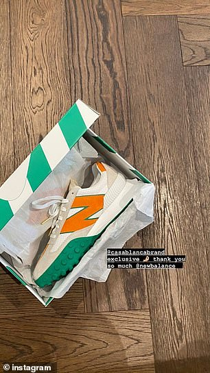 Favourite: He also received a pair of New Balance sneakers, which seem to be the coveted shoe of the season among Instagram influencers