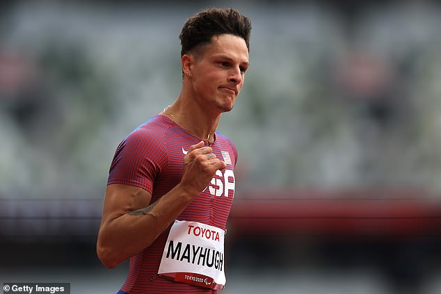 Nick Mayhugh also scored a victory in his sprint heat with the fastest T37 sprinter of all-time