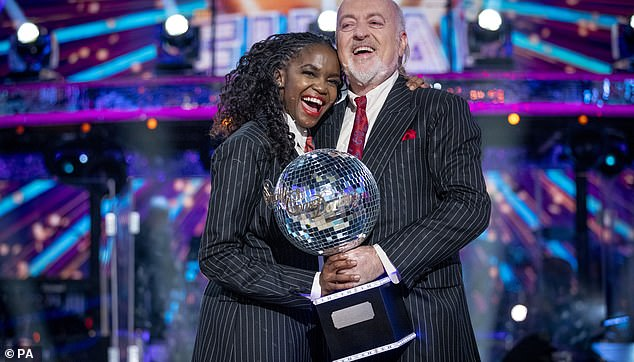 Taking precautions: Strictly Come Dancing will reportedly still enforce Covid-19 bubbles for the new series, despite lockdown restrictions easing (pictured: Oti Mabuse and Bill Bailey)