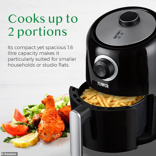 The Tower T17026 Air Fryer has a capacity of 1.6 litres that shoppers say is the 'perfect size for two people'