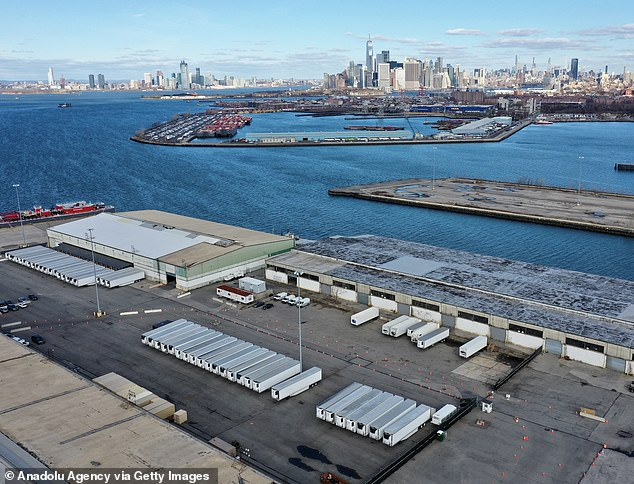 Some 50 freezer trucks parked on the 39th Street Pier in the Sunset Park section of Brooklyn have been converted into makeshift morgues that are storing 650 unclaimed bodies of Covid-19 fatalities