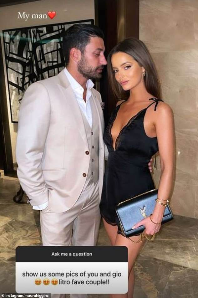 'My man': Her night out comes after Maura shared a selection of loved-up snaps with her boyfriend Giovanni Pernice on Instagram on Wednesday