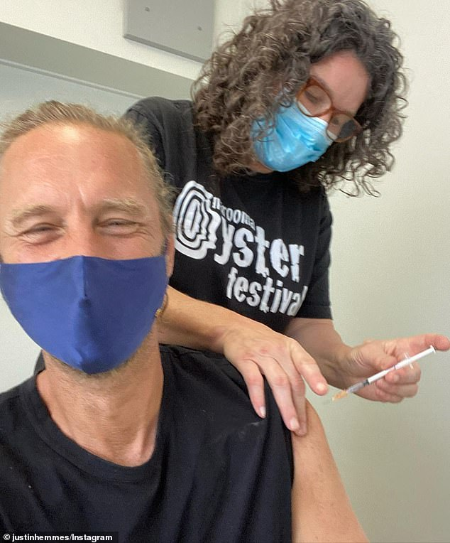 Happy: Billionaire pub baron Justin Hemmes (pictured) was all smiles as he received his Covid-19 vaccine on Friday, in a photo shared to Instagram