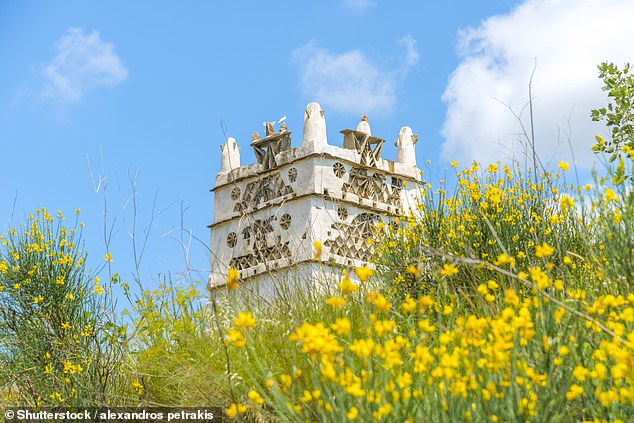 There are many decorated pigeon huts on the island of Tinos, one of which is pictured