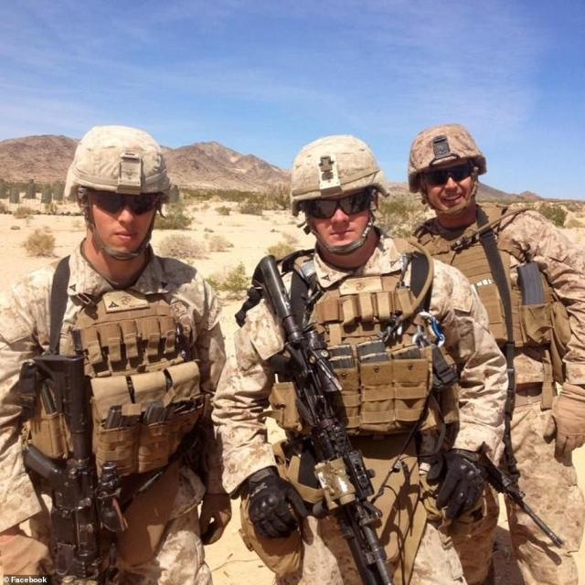 Hoover, center, was among the Marine troops in Afghanistan to helping with the evacuation