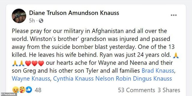 Members of the Knauss family mourned Ryan's death on social media