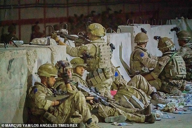 Afghanistan is today a graveyard of Western ideals that many Afghans had come to hold dear.Pictured: Troops in Kabul on August 26