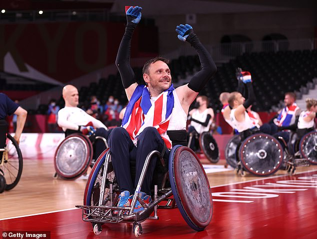 Ryan Cowling celebrates after Team GB beat the USA to win their first wheelchair rugby gold