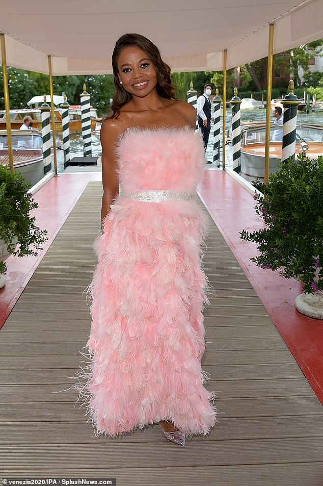 Wow: Emma Weymouth, 35, looked sensational in a feathered pink ruffled pink ball gown for the Dolce and Gabbana fashion show on Sunday