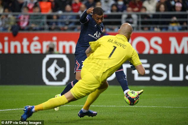 The France forward makes no mistake with the second, slotting in before Messi joined the fray