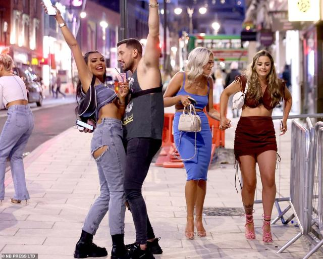 Scores of revellers appeared in high spirits as they took to the streets of Leeds last night and enjoyed the bank holiday weekend