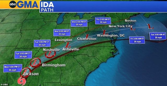 Now a tropical storm, Ida is expected to make its way through the Mid-South, Mid-Atlantic and the Northeast in the coming days, dropping three to six inches of rain along its way