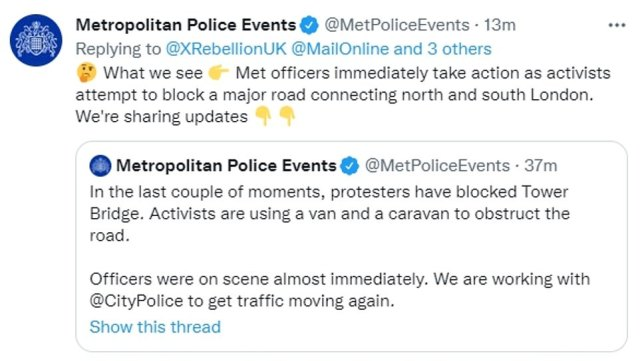Underneath the Twitter post, the Met hit back with a confused face emoji, insisting officers 'immediately took action' to deal with the mob