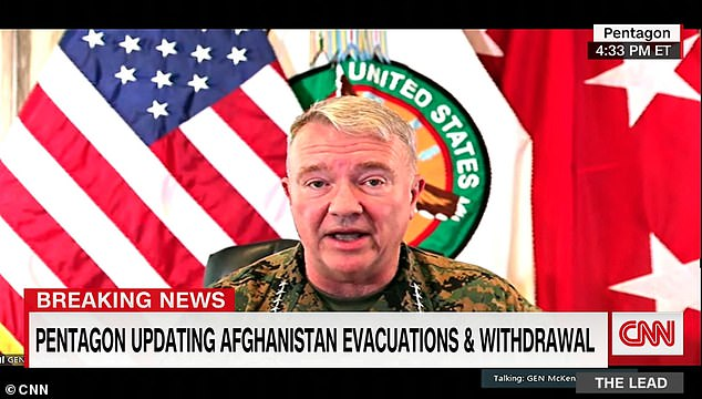 'The last manned aircraft is now clearing the airspace above Afghanistan,' said Marine Corps Gen. Kenneth F. McKenzie Jr., commander of U.S. Central Command