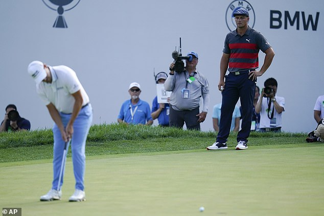 Patrick Cantlay (L) and Bryson DeChambeau served up drama at the BMW Championship golf