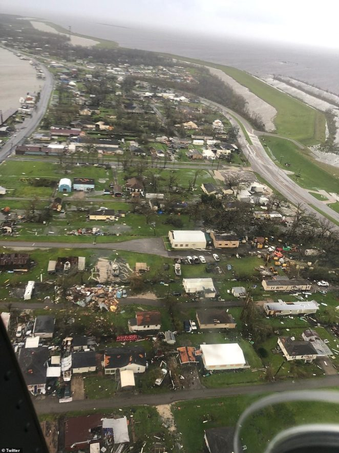The US Coast Guard shared this photo online of a helicopter surveying the damage in the wake of the hurricane