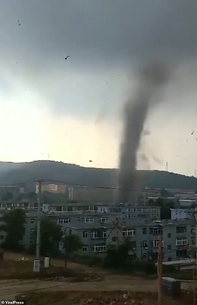 The tornado damaged 50 homes inHuludao city in China's Longgang District as well as ripping out trees. One person was taken to hospital for treatment following the storm