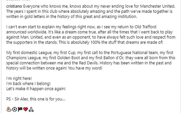 The 36-year-old posted an emotional message to United fans after his move was confirmed