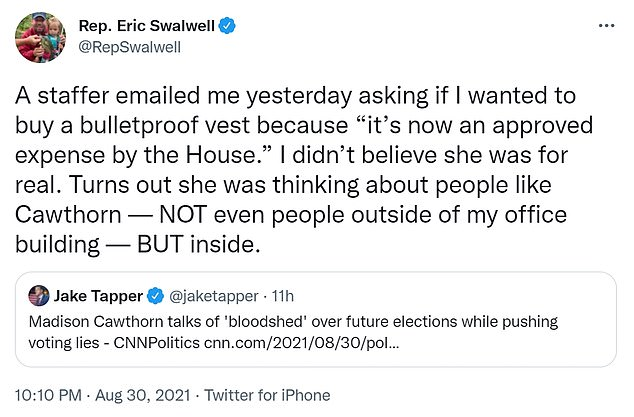Swalwell tweeted that a staffer asked him if he wanted a House-expensed bulletproof vest to protect from internal threats in Congress rather than external ones