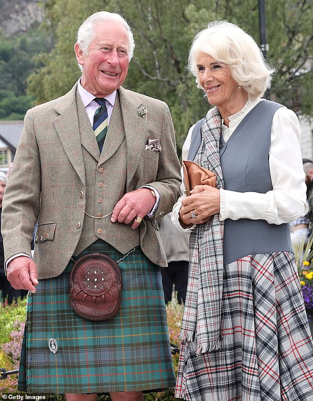 All dressed up! Charles donned his favoured Balmoral tartan while Camilla also opted for a kilt